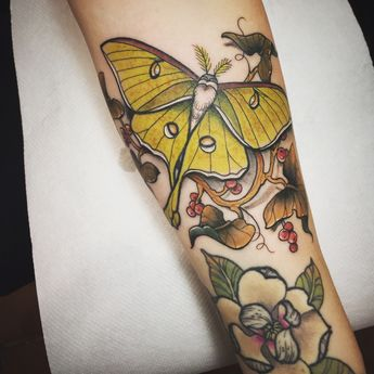 luna moth by stefano giorgi at kiss me darlin tattoo in rome italy