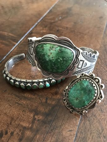 Vintage Cerrillos Turquoise bracelet and ring FOR SALE