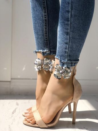Shiny Ankle Strap Thin High-heeled Sandals