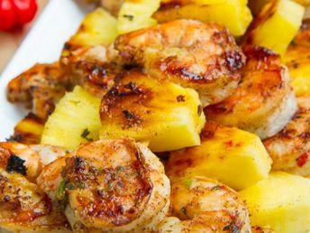 Grilled Jerk Shrimp and Pineapple Skewers - Spicy grilled jerk marinated shrimp and sweet and juicy pineapple skewers using a tasty homemade jerk marinade!