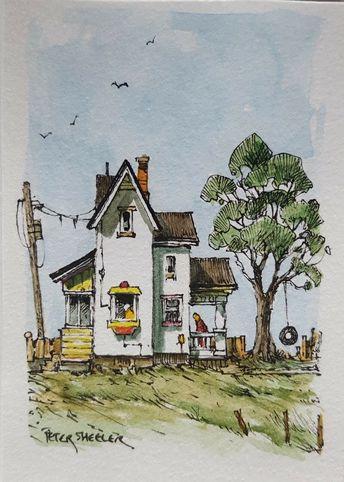 "Country Swing ACEO 2.5""x3.5"" Original Watercolor Peter Sheeler farmhouse house | eBay"
