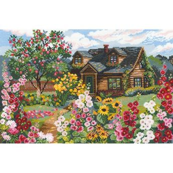 Flowering Garden Counted Cross Stitch Kit, 15 inch x 10.25 inch, 16-Count, Multicolor