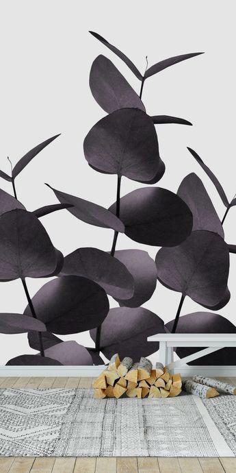 Eucalyptus Leaves Black 1 Wall mural