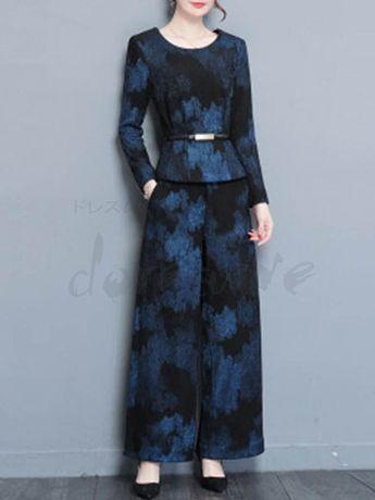 1d02fee524910 ファッション通販 #Fashion Doresuwe長袖花柄ブラウス着やせポケット付きズボンワイド