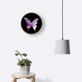 'The Sacred Nebula Butterfly, Sacred Geometry Space Art' Clock by ChaosEmporium