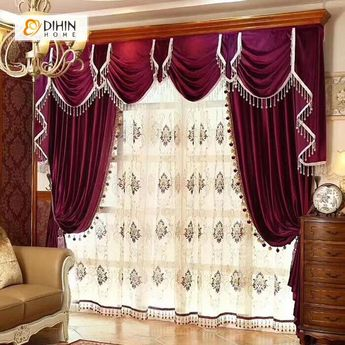 DIHIN HOME Exquisite Solid Red Printed Valance,Blackout Curtains Grommet Window Curtain for Living Room ,52x84-inch,1 Panel