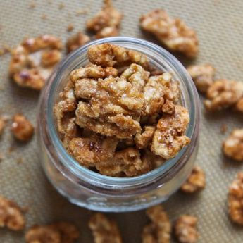 Maple Glazed Candied Walnuts- we made these to top a salad, but ended up eating the entire batch simply out of hand!