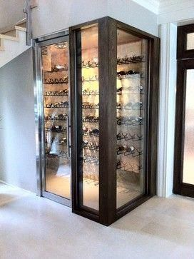 Another under stairs wine seller - looks classy in glass #wineglassrack