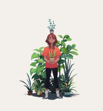 Girl And Plants by Heather Penn