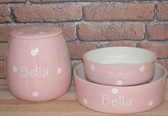 Personalised Ceramic Polka Dots Dog Bowls Treat Jar Set 50 00