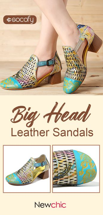 SOCOFY Hand Painted Retro Veins Genuine Leather Splicing Big Head Hollow Soft Sandals.