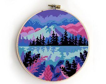 Landscape with moon cross stitch galaxy trees camping nature | Etsy