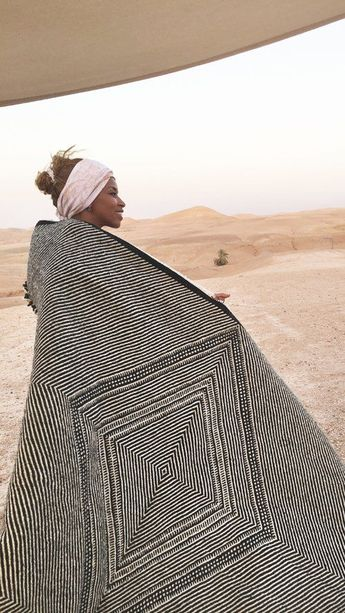 Flatweave Kilim-Rug from Morocco with handwoven geometric design featuring wool black and ivory. This style of Moroccan flat fabric is woven without a memory pattern, making the design complexity e...