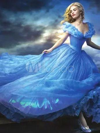 Halloween Cinderella Dress for Adult Blue Princess Costume Cosplay Halloween