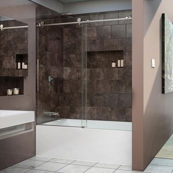 DreamLine Enigma-X 55 to 59 in. x 62 in. Frameless Sliding Tub Door in Brushed Stainless Steel-SHDR-61606210-07