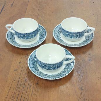 9 Tea Cups & Saucers Mismatched Bareuther Waldsassen Fruit