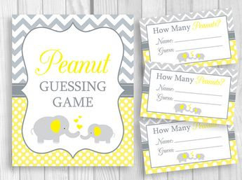 Peanut Guessing Game Printable 5x7 or 8x10 Yellow and Gray Elephant Baby Shower Sign, Sheet of 3x5 Tickets - Unisex - Instant Download