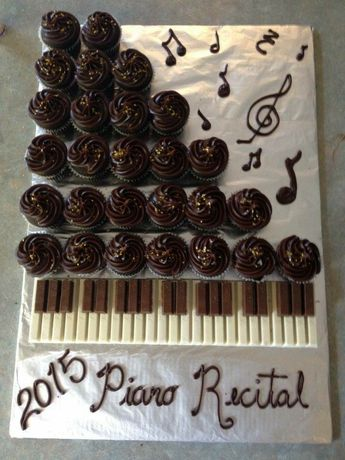 Piano made out of cupcakes and kitkat.