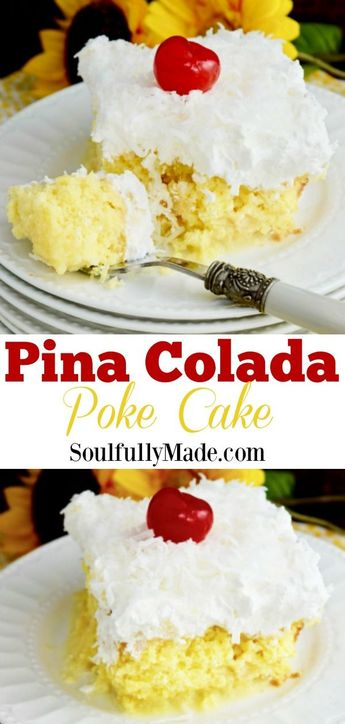 Dreamy buttery cake drenched with pineapple juice and sweetened creamy coconut topped with whipped cream and coconut flakes make up this delightfully light and fluffy Pina Colada Poke Cake. A slice of this pineapple coconut cake and you will be transported to a tropical paradise. #PinaColadaPokeCake #PineappleCoconutCake #Cake