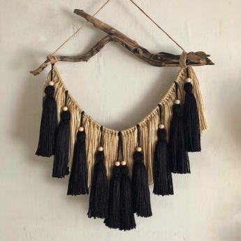 Black & Beige Beaded Tassel Hanging