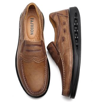 Large Size Men Genuiner Leather Soft Business Casual Shoes