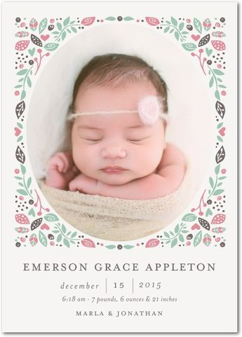 A new meaning to floral crown... for babies! Shop spring inspired birth announcements for spring arrivals.