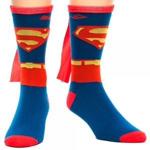 Superman Costume Crew Sock With Cape