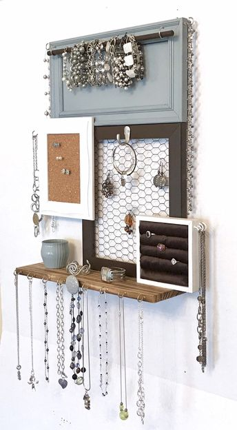 Excited to share this item from my #etsy shop: Wall mounted jewelry organizer and display