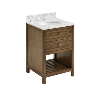 Southern Enterprises Henlyville 24 in. W x 22 in D Bath Vanity in Weathered Brown with Carrara Marble Vanity Top in White/Gray w White Basin