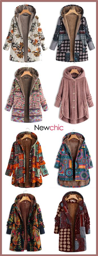 Floral Print Hooded Long Sleeve Vintage Coats. #womencoats #winterfashion #vintagestyle
