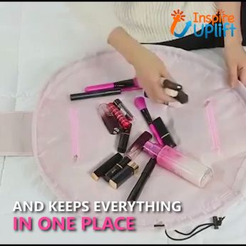 """Travel Make Up Wrap Bag 😍  Our Travel Make Up Wrap Bag (22"""") is a handy, cosmetic tote that allows easy access to all of your cosmetics at once and clean up takes just seconds! No more digging around in one of those traditional, black hole, make-up bags searching for what you need.  Currently 50% OFF with FREE Shipping!"""