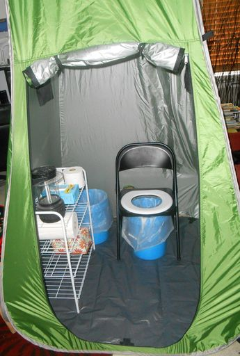 Dry run with the folding chair potty in a privy tent. Next, time real camping trials. #campingtoilet