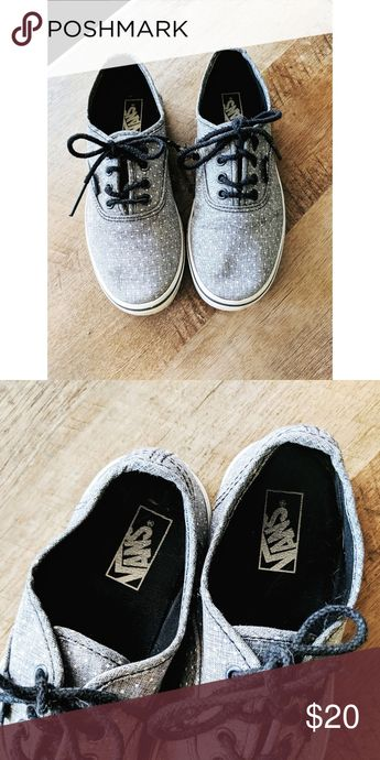 Vans Gray with white polka dot, they need new shoes strings Vans Shoes