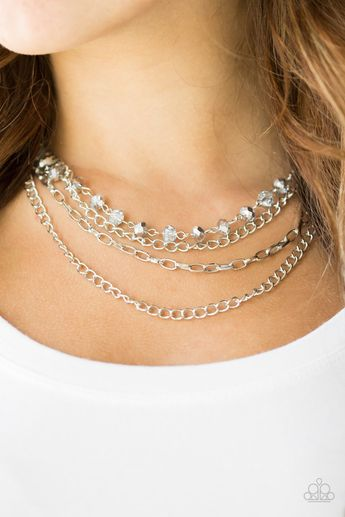 Paparazzi Extravagant Elegance - Silver Crystal Chain Necklace