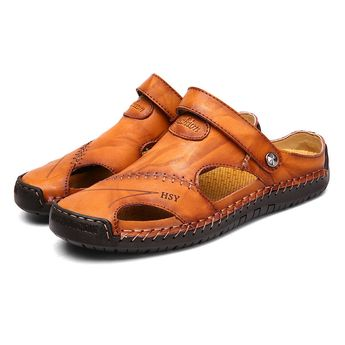 High-quality Men Hand Stitching Soft Outdoor Closed Toe Leather Sandals - NewChic