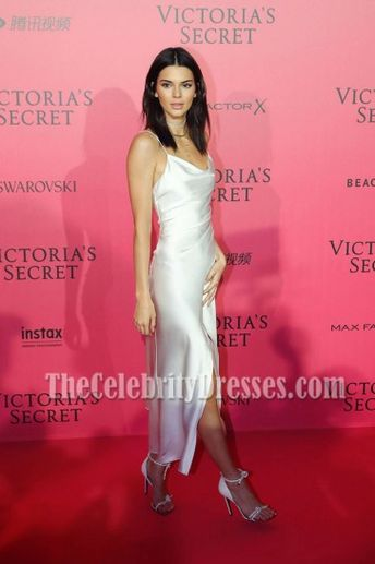 b775b780b577 Kendall Jenner White Spaghetti Straps Party Dress Victoria's Secret Fashion  Show 2016 After Party TCD7003