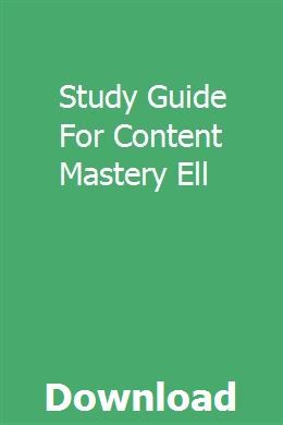Study Guide For Content Mastery Ell pdf download