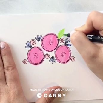 How to Draw Flowers with Tombow Brush Pens #darbysmart #diy #diyprojects #diyideas #diycrafts #easydiy #artsandcrafts #drawing #flowers
