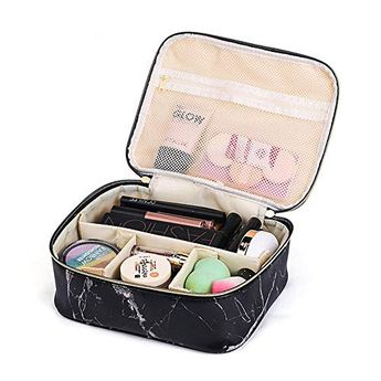Marble Makeup Bag,makeup artists travel bag,Portable Travel Cosmetic Bag Organizer Multifunction Case with Gold Zipper Toiletry Bag for Woman