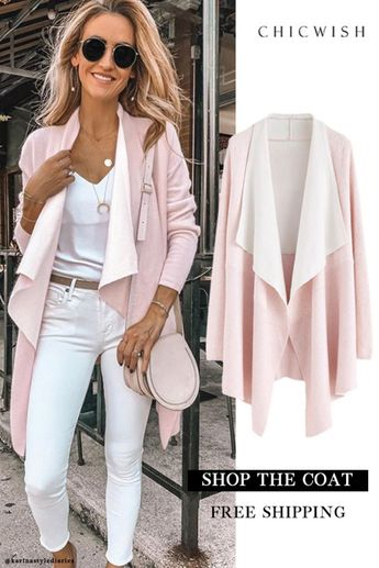 Free Shipping & Easy Return. Up to 30% Off. Soft Blush Ribbed Hem Drape Cardigan featured by karinastylediaries. Keep comfy and chic in this soft drape cardigan. A subtle waterfall front gives it a soft, feminine flare. Throw this plush piece over your tees, jeans and boots for an effortlessly chic look.