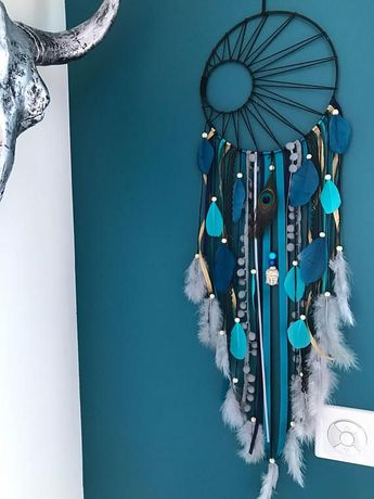 Catch dreams Dreamcatcher weaving Black Sun turquoise teal and gray