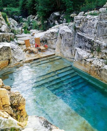 #fatstudios •The pool is designed by Aqua Pool & Patio 📍Sheffield, Massachusetts-This natural swimming pool is built into a Berkshires limestone quarry creating an alluring natural rustic element. Measuring 25 by 40 feet with a depth range between 3 to 7 feet, the pool even includes a sixteen foot waterfall.