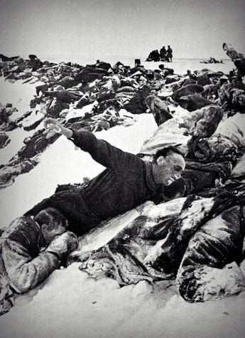 """Stalin's method: masses of Soviet KIA's collected by the Germans during the battles near Moscow. With poor leadership, low motivation, and woeful training, the Soviet army's """"tactical solution"""" was the massed infantry assault ala WW1. The result was predictable given the Germans' joint arms approach including heavy artillery and mortar fires aimed at the masses."""