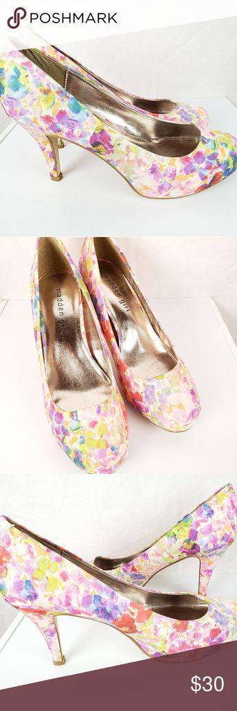 9954f55677fe Madden Girl Floral Watercolor Print Heels Madden Girl floral watercolor  print heels. Gently worn condition