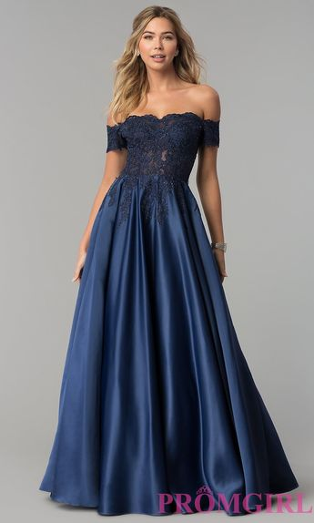 4f0f3346fb9c Long Off-the-Shoulder Lace and Satin Prom Dress