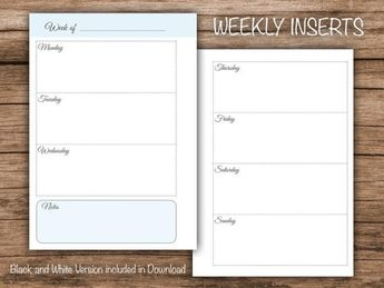 A5 & Half Letter Weekly Planner Insert | Light Blue | Black and White | Agenda Printable