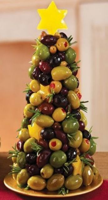 Stack Cream Cheese and Olives for a Majestic Appetizer 'Tree'