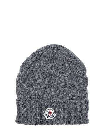 2949d57c90d Moncler Wool Cable Knit Beanie Hat - ShopStyle Accessories