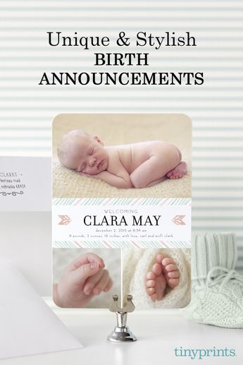 Celebrate your new baby with hundreds of unique and stylish birth announcements from Tiny Prints. From whimsical designs to chic fonts, Tiny Prints collection of birth announcements will help you find the perfect way to welcome your beautiful baby boy, girl or twins to the world. Help remember this special occasion (and those squeezable cheeks), with personalized touches like customized photos, fonts and colors. Make your baby's big debut with announcements from Tiny Prints today.