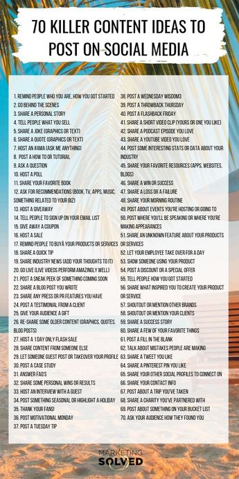 70 Killer Social Media Content Ideas, if you're not sure what to post on social media? You'll LOVE this list. Never run out of ideas to post on social media, again! // Social Media Content // Social Media Tips
